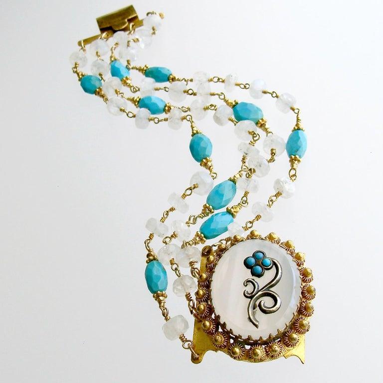 Sleeping Beauty Turquoise Moonstone Georgian Pinchbeck Clasp Bra For Sale 1