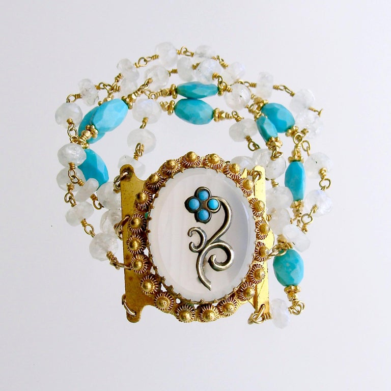 Sleeping Beauty Turquoise Moonstone Georgian Pinchbeck Clasp Bra For Sale 2