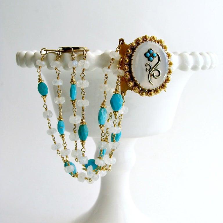 Sleeping Beauty Turquoise Moonstone Georgian Pinchbeck Clasp Bra For Sale 3