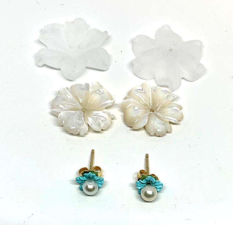 Sleeping Beauty Turquoise, Mother of Pearl and Rock Crystal Earrings 14k Gold 1