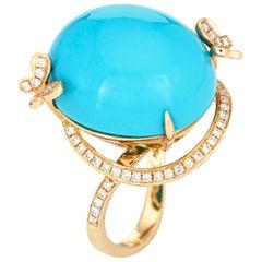 Sleeping Beauty Turquoise Ring Diamond Butterfly Estate 14k Gold Fine Jewelry