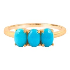 Sleeping Beauty Turquoise Ring, Engagement Jewelry for Anniversary 14K Gold ring