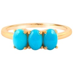 Sleeping Beauty Turquoise Ring, Jewelry for Anniversary 18 Karat Gold Ring