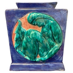 """Sleeping Figure,"" Jewel-Toned Art Deco Vase in Jade, Cobalt and Coral by Cazaux"