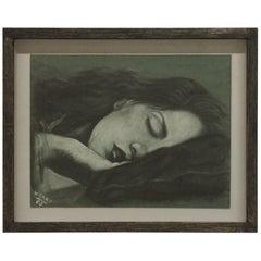 Sleeping Women Pastel Signed W. Gray