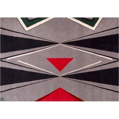 Grey Wool Rug w/ Cat Red Black Green by Cecilia Setterdahl for CarpetsCC
