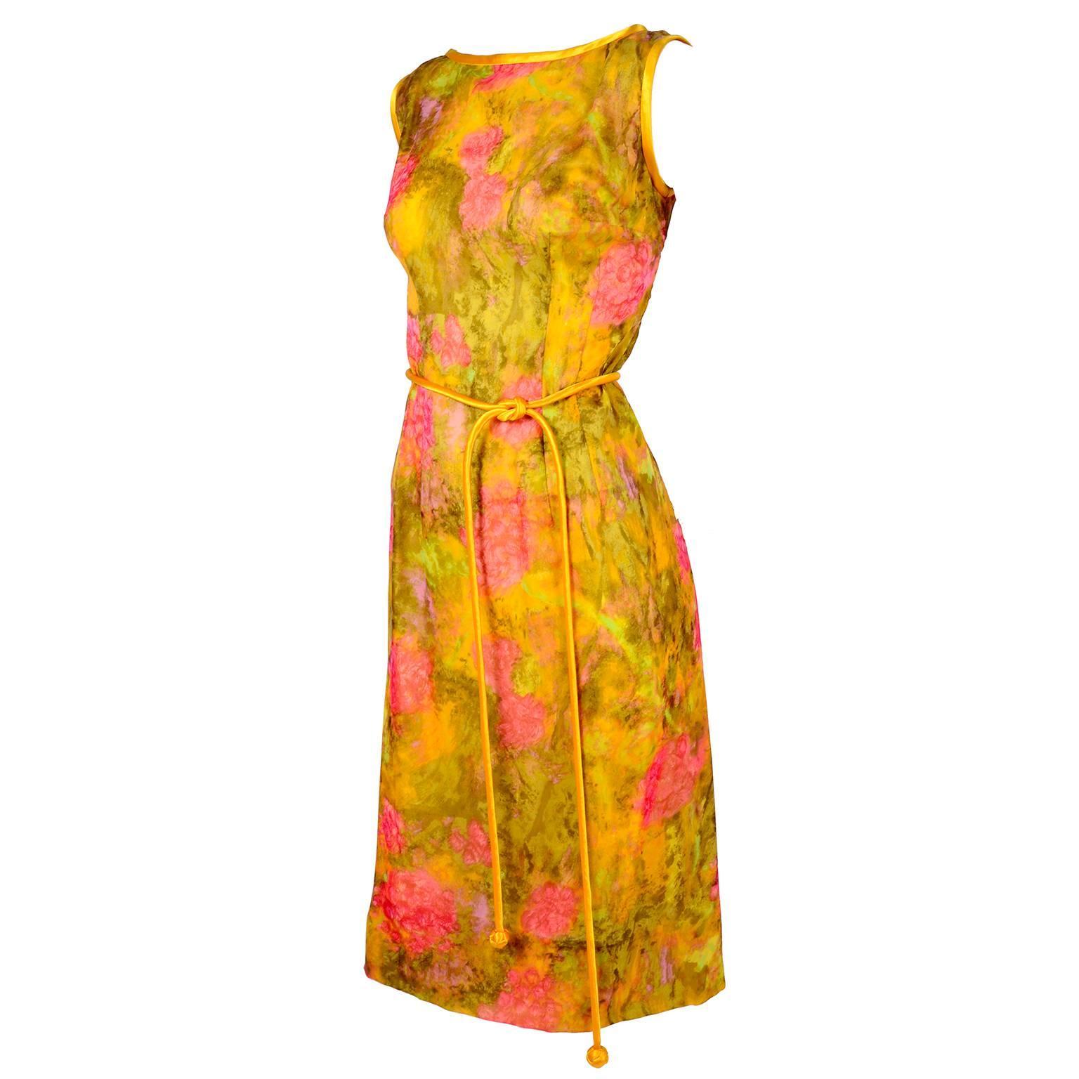Sleeveless 1960s Dress by Gene Kristeller in Pink, Yellow & Green Floral Silk