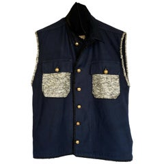 Sleeveless Jacket DarkBlue Military Cotton Gold Tweed Silk Up-cycled J Dauphin