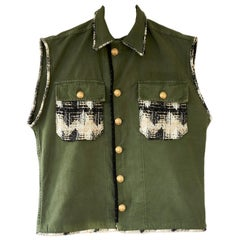 Embellished Jacket Sleeveless Green Military Gold Buttons French Tweed J Dauphin