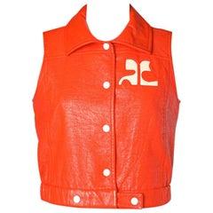 Sleeveless jacket in orange Courrèges skai leatherette