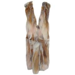 Sleeveless Long Soft Red Fox Fur Reversible Vest