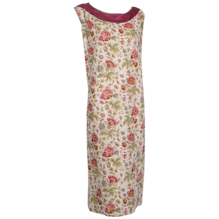 Sleeveless Plum Floral Glass Bead Sack Dress with Gold Piping - M, 1920s For Sale