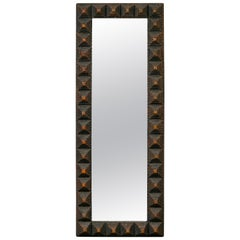 Slender French Tramp Art Carved Wood Mirror with Pyramidal Motifs, circa 1900