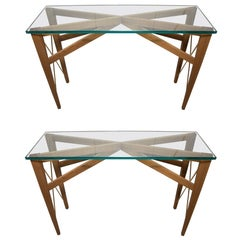 Slender Wood Glass Top Consoles with Brass Details