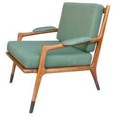 Slender Wooden Lounge Chair, Fine Brass Feet and Green Upholstery, Italy, 1955