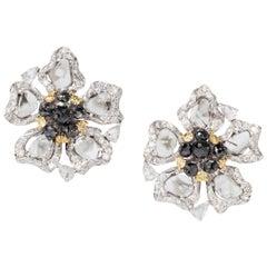 Slice and Black Diamond Ear Studs