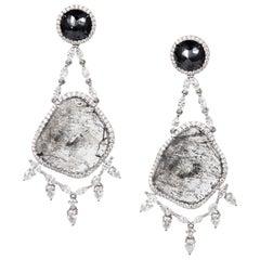 Manpriya B Slice, Black Rose Cut & Fancy Diamond 18K Gold Chandelier Earrings