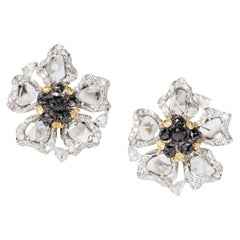 Slice, Black Yellow Diamond 18 Karat White Gold Clip-On Stud Earrings
