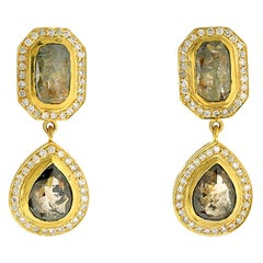 Slice Diamond 18 Karat Gold Earrings
