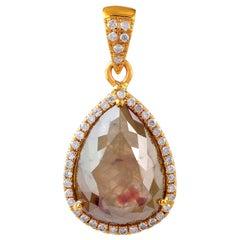 Slice Diamond 18 Karat Gold Pendant Necklace