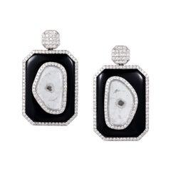 Manpriya B Slice Diamond and Black Onyx 18 Karat White Gold Dangle Earrings