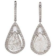 Manpriya B Slice Diamond, Diamond, White Sapphire Tear Drop Dangle Earrings
