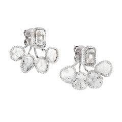 Manpriya B Slice White Diamond 18K White Gold Ear Jackets Stud Earrings