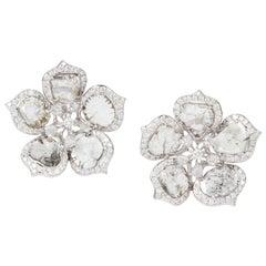 Manpriya B Slice Diamond 18K White Gold Flower Clip-On Stud Earrings