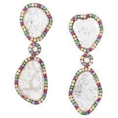 Manpriya B Slice Diamond, Ruby, Coloured Sapphire and Tsavorite Drop Earrings