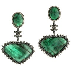 Slice Emerald Earring with Diamonds