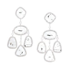 Slice & Rose-Cut Diamond Girandole Earrings in 18 Karat White Gold by Manpriya B