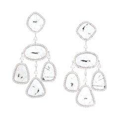 Manpriya B Slice Rose-Cut Diamond Girandole 18K Gold Chandelier Drop Earrings
