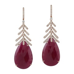 Slice Ruby Earring with Leaf Designs Set in 18k Gold with Diamonds