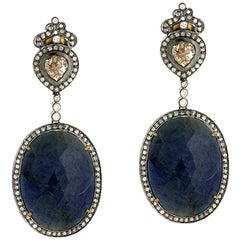 Slice Sapphire Diamond Dangle Earring