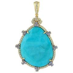 Slice Turquoise Pendant with Diamonds and Tanzanite in 18 Karat Gold