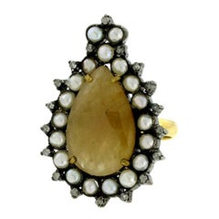 Slice Yellow Sapphire Ring Set in Gold and Silver with Diamonds and Pearls