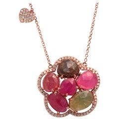 Sliced 10.8 Carat Multi Sapphire and Diamonds 14 Karat Gold Flower Necklace