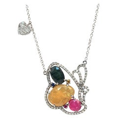 Sliced 6.76 Ct Multi Sapphire 0.59 Ct Diamond 14k Gold Butterfly Heart Necklace