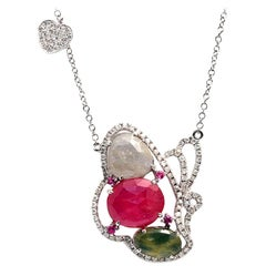 Sliced 6.91 Ct Multi Sapphire 0.56 Ct Diamond 14k Gold Butterfly Heart Necklace