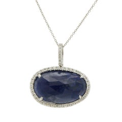 Sliced 8.69 Carat Blue Sapphire 0.24 Carat Diamonds 14 Karat White Gold Necklace