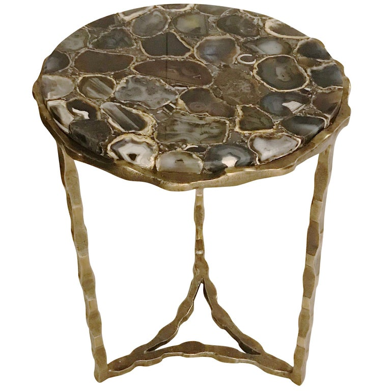 Sliced Agate Top Cocktail Table, Belgium, Contemporary For Sale