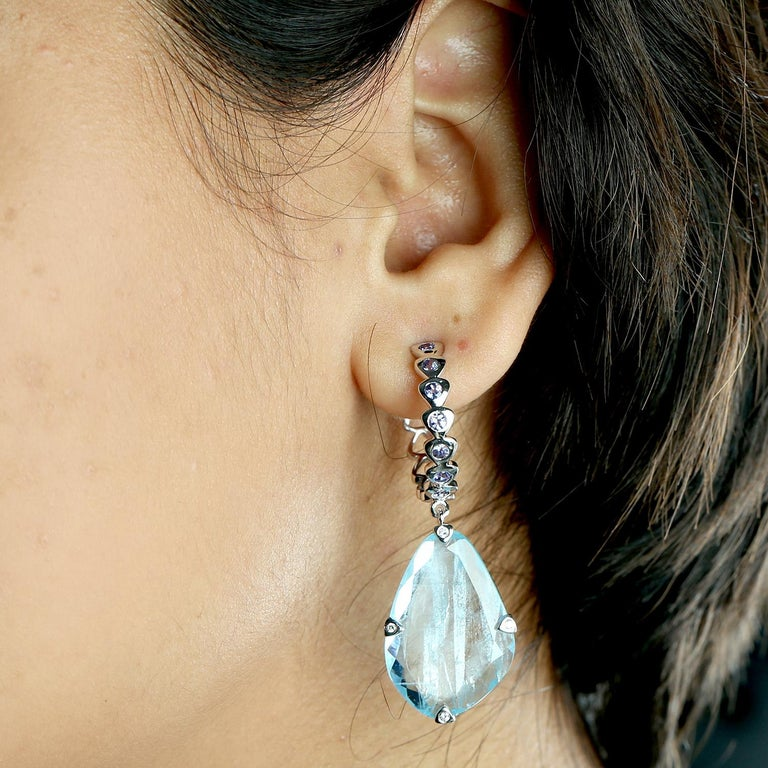 Modern Sliced Aquamarine with Tanzanite Hoop Earring For Sale