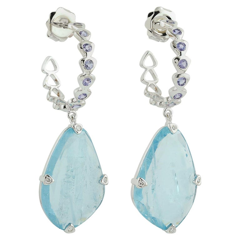 Sliced Aquamarine with Tanzanite Hoop Earring For Sale