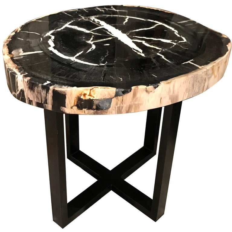 Sliced Black and White Petrified Wood Side Table, Indonesia, Contemporary