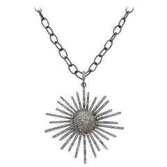 Sliced Diamond and Oxidized Sterling Silver Starburst Necklace