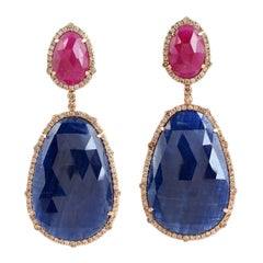Sliced Ruby and Sapphire Earring Set it 18k Gold with Diamonds