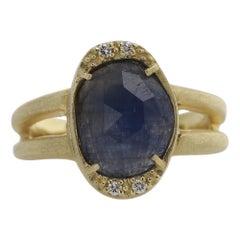 Sliced Sapphire Ring 18 Karat & Diamonds Vintage Blue Sapphire Gold Ring