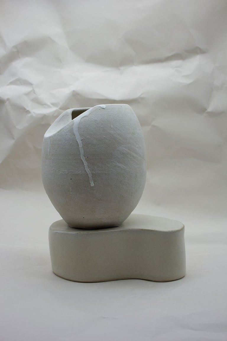 British Sliced Sphere with Plinth Modern Ceramic Sculpture For Sale