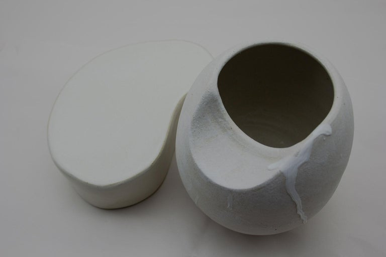 Contemporary Sliced Sphere with Plinth Modern Ceramic Sculpture For Sale