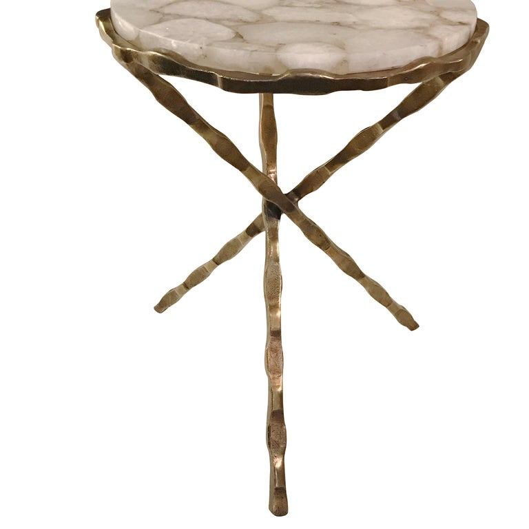Belgian Sliced White Agate Top Cocktail Table, Belgium, Contemporary For Sale